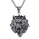 《QBOX 》FASHION 飾品【C20N1600】精緻個性歐美龐克風狼頭鑄造鈦鋼墬子項鍊/掛飾