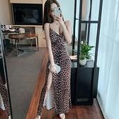 夜店女裝夜總會夜店女裝性感新款V領低胸豹紋性感側面開叉包臀長裙洋裝