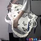 帆布包 大容量包包女2021新款網紅蝴蝶側背斜背包學生百搭帆布包袋潮寶貝計畫 上新