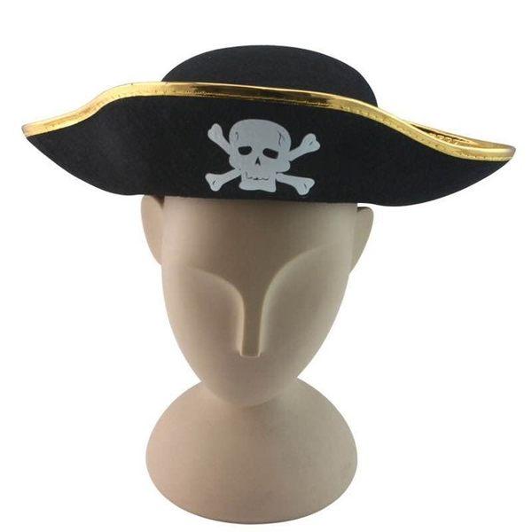 【發現。好貨】派對用品金邊骷顱頭成人海盜帽 虎克船長 舞會cosplay道具海盜帽搞怪尾牙