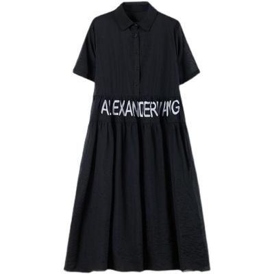 胖妹妹大碼洋裝~字母繡花天絲襯衫連身裙女裝長裙氣質裙子MB071B莎菲娜