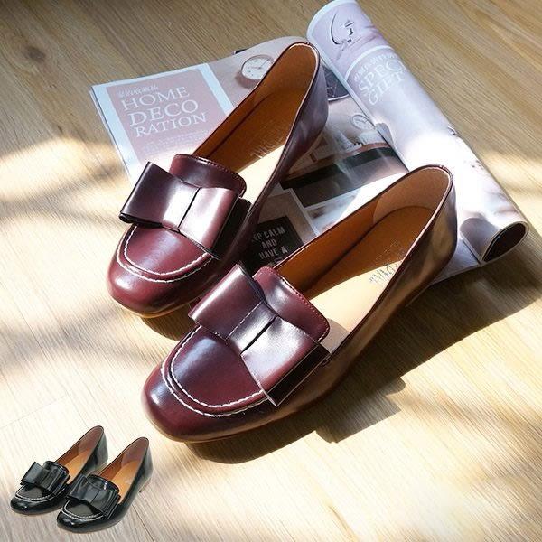 包鞋.MIT蝴蝶結樂福娃娃鞋.黑/酒紅【鞋鞋俱樂部】【028-3272】