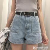 牛仔短褲chic女新款高腰A字寬鬆闊腿百搭顯瘦學生熱褲 快意購物網