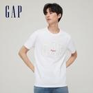 Gap男裝 Logo純棉寬鬆圓領短袖T恤 848801-白色