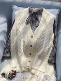 聖誕禮物針織馬甲秋冬新款毛衣馬甲女寬松韓版短款V領針織衫背心外套無袖開衫 愛麗絲