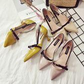 正韓百搭貓跟鞋女新款小清新高跟鞋5cm細跟尖頭單鞋女伴娘鞋