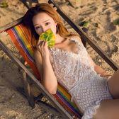 梨卡 - 韓國火辣性感[爆乳露背+繞頸綁脖]蕾絲荷葉邊顯瘦連身三角泳衣比基尼泳裝CR272