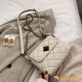 大氣復古小包包新款復古網紅斜挎包時尚女士菱格鏈條包【勇敢者戶外】