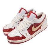 Nike 休閒鞋 Air Jordan 1 Low SE Spades 撲克牌 白 紅 金 男鞋【ACS】 DJ5185-100