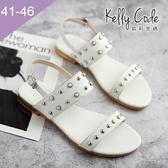 大尺碼女鞋-凱莉密碼-夏日性感鉚釘羅馬真皮平底涼鞋2cm(41-46)【BY130-74】 白色