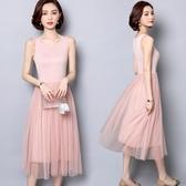 中長款吊帶裙女 夏外穿大碼網紗洋裝 打底裙蕾絲內搭 連身裙 超值價