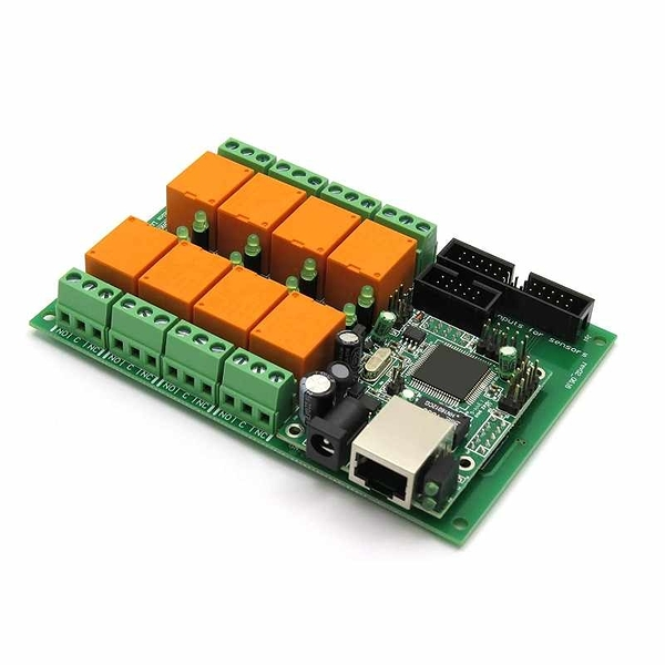 Denkovi 以太網中繼控制器模塊 Web服務器IP 溫度傳感器LM35DZ SNMP Web Android iOS 12VDC [2美國直購]