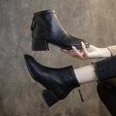 短靴單款軟皮馬丁靴女英倫風方頭靴子女2020秋冬新款粗跟短靴中跟百搭 雙11 伊蘿