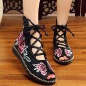 新款夏季老北京女鞋 民族風繡花鞋布鞋魚嘴復古系帶百搭女士涼鞋子