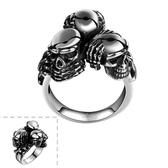 鈦鋼戒指 骷髏頭-龐克搖滾另類個性生日情人節禮物男飾品73le197【時尚巴黎】