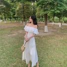 平口洋裝/一字領 海邊度假旅游沙灘裙溫柔系仙女裙方領白色連身裙一字肩露肩長裙