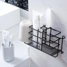 衛生間牙膏牙刷的收納盒放梳子筒壁掛電動放置架免打孔粘貼式置。 快速出貨