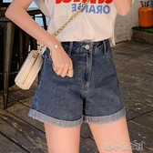 牛仔短褲女裝韓範高腰熱褲顯瘦闊腿夏季薄款寬鬆潮破洞 洛小仙女鞋