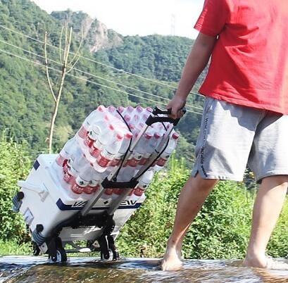 家用手拉車小便攜折疊行李車拖車手推車拉貨拉杆車搬運車買菜購物 黑色升級橡膠輪+包  快速出貨