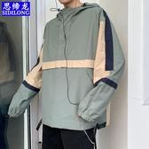 日系拼色工裝衛衣男潮牌沖鋒衣套頭寬鬆風衣韓版嘻哈學生連帽外套 艾瑞斯居家生活