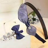 發箍韓國頭箍布藝蝴蝶邊發卡珍珠發夾邊夾