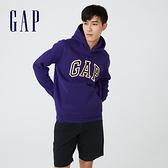 Gap男裝 碳素軟磨系列 Logo刷毛連帽休閒上衣 791339-紫色