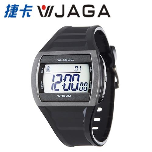 JAGA 捷卡 - M879-AC多功能防水運動電子錶-黑灰