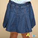 Azio 女童 褲裙 前百褶造型牛仔褲裙(藍) Azio Kids 美國派 童裝