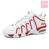 動感流線撞色情侶款籃球氣墊運動鞋 紅 男款 *MOM*