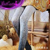 褲襪 日系原宿紋身絲襪連褲不易勾絲個性漸變花紋打底褲襪女 df7006【大尺碼女王】