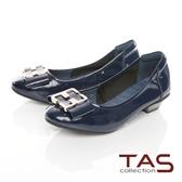 TAS蝴蝶結飾扣素面漆皮娃娃鞋–深海藍