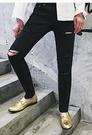 找到自己 品牌 男士牛仔褲 膝蓋破壞修身黑色牛仔褲
