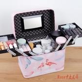 化妝包手提簡約大容量品收納箱便攜ins風超火盒多功能多層皮質LXY1477【Rose中大尺碼】