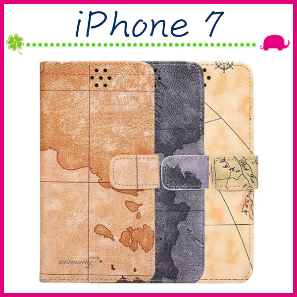 Apple iPhone7 4.7吋 Plus 5.5吋 地圖紋皮套 復古航海圖手機殼 磁扣保護套 支架手機套 側翻保護殼