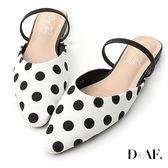 穆勒鞋 D+AF 赫本甜美.圓點點尖頭平底穆勒鞋*白
