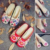 亞麻拖鞋老北京布鞋民族風繡花鞋居家外穿包頭布涼拖媽媽女鞋春夏 薔薇時尚