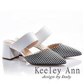★2018春夏★Keeley Ann魅力大方~千鳥格紋尖頭中跟穆勒鞋(白色) -Ann系列