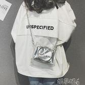 斜背包女透明迷你小包包女果凍鍊條包斜背包 嬡孕哺
