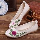 亞麻養腳新款女鞋老北京布鞋民族風繡花鞋子平底媽媽亞麻大碼單鞋