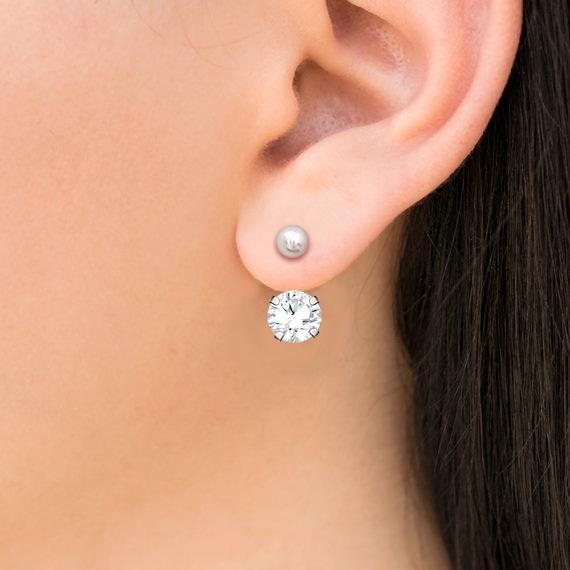 316L醫療鋼 8mm白水晶 細針肚臍環耳環 防抗過敏 單支販售