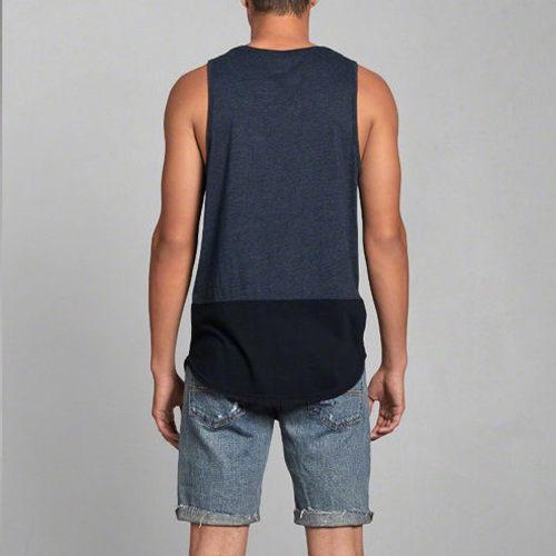 A&F Abercrombie&Fitch AF 刺繡麋鹿口袋配色當季現貨男款背心-深藍