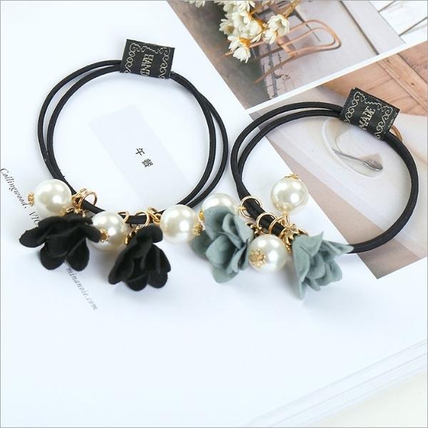 ►韓版手工串珠花朵珍珠 彈力橡皮筋頭繩髮圈【B5039】