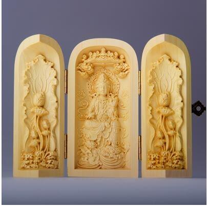 黃楊木雕佛像三開盒汽車擺件福祿壽觀音三聖工藝品佛龕手把件 千手觀音 自在觀音