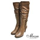 【Messa米莎專櫃女鞋】窈窕女人金屬扣飾皺褶感拉鍊高跟長筒靴-咖啡色