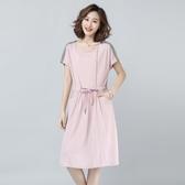 棉麻連身裙新款中長款氣質小個子顯瘦夏天流行裙子