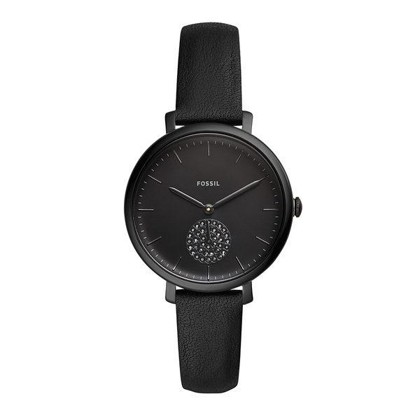 FOSSIL JACQUELINE 黑色皮革石英手錶 女 ES4490
