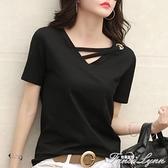 純色v領短袖t恤女2021夏季韓版寬鬆黑色上衣休閒網紅ins潮體恤 范思蓮恩