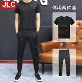 夏季男士運動套裝新款時尚潮韓版男裝夏裝短袖休閒服裝兩件套糖糖日系森女屋