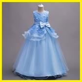 秋季新款中大女童婚紗禮服長款連身裙寶寶