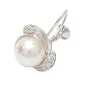 MIKIMOTO 珍珠鑲鑽18K白金耳環(單耳) Pearl Earring 1pcs 【BRAND OFF】